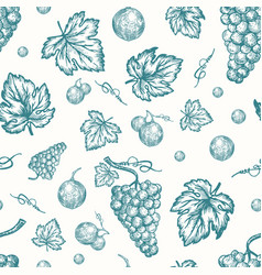 hand drawn autumn grapes harvest seamless vector image