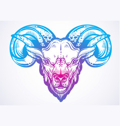 Hand-drawn beautiful artwork of a ram high vector