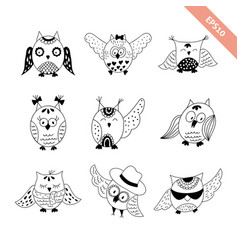 hand drawn doodle owls set vector image