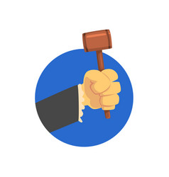 Hand holding judges gavel wooden hammer of judge vector