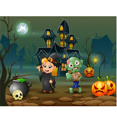 Happy halloween witch and zombie in front of the h vector