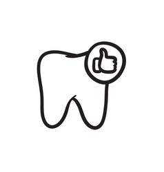 Healthy tooth sketch icon vector
