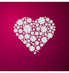 Heart Made from Paper Flowers on Pink Background vector image