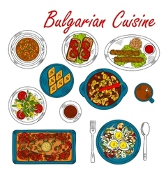 Hearty dishes of Bulgaria with meat and vegetables vector