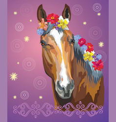 horse portrait with flowers7 vector image
