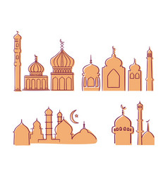 islamic mosque building with modern graphic line vector image