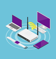 isometric electronic devices connected to a wifi vector image
