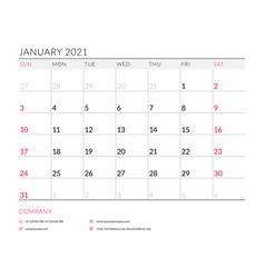 January 2021 monthly calendar planner printable vector
