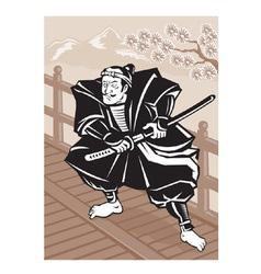 Japanese samurai warrior sword vector