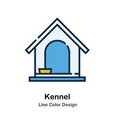Kennel line color icon vector