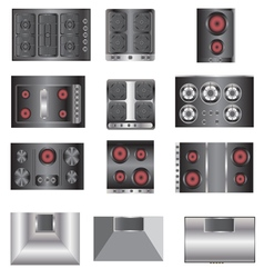 kitchen equipment Electric stove top view set 4 vector image