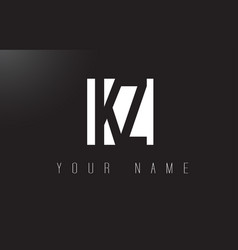 kz letter logo with black and white negative vector image