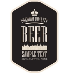 label beer with the old town vector image