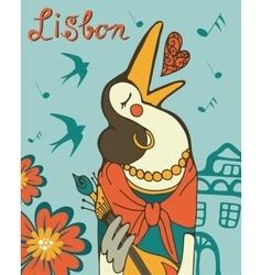Lisbon crow fado singer vector image vector image