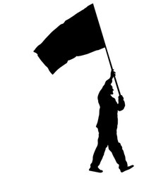 Man walking with flag silhouette protester rights vector