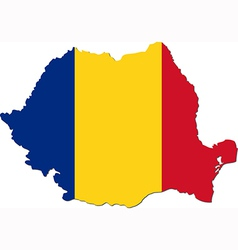 map romania with national flag vector image
