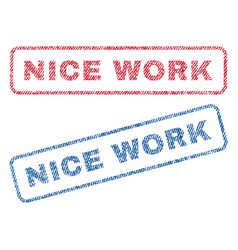 nice work textile stamps vector image
