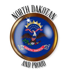 north dakota proud flag button vector image