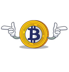 Pointing finger bitcoin gold character cartoon vector
