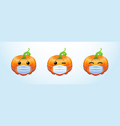 Pumpkins emo with medical masks vector