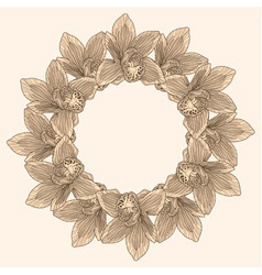 Round frame made of orchid flower engraving vector