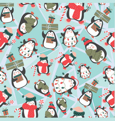 seamless pattern with cute penguins on ice broken vector image