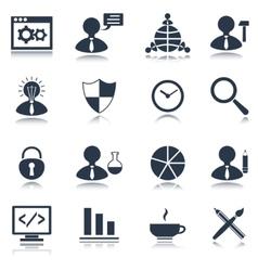 SEO icons set black vector