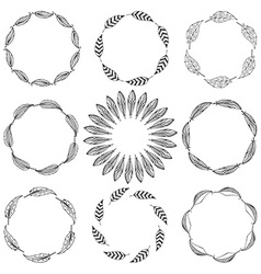 Set of feather borders decorative frame vector