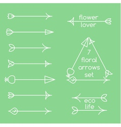 Set of floral arrows line art and logo examples vector image