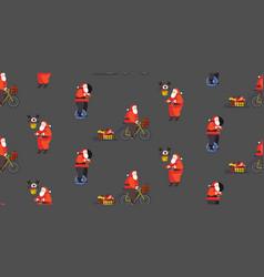 set santa claus riding mono wheel cycling and vector image