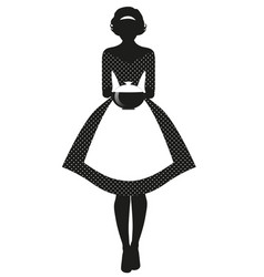 silhouette housewife dressed in style of vector image
