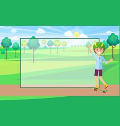 Skater in protective helmet in green park trees vector