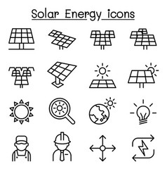 Solar energy industrial icon set in thin line vector