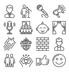 stand up comedy club icons set vector image
