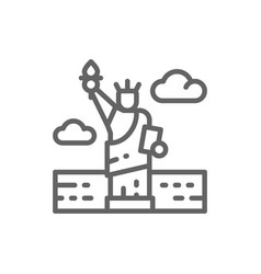 statue liberty usa landmark line icon vector image