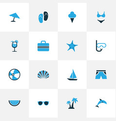 Summer colorful icons set collection of fresh vector