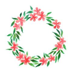 summer hibiscus flower wreath watercolor vector image