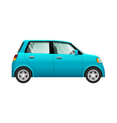 Transport of small blue automobile vector