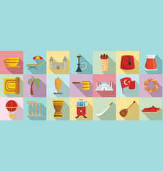 Turkey country icons set flat style vector