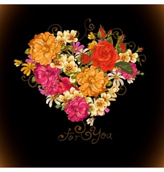 Valentine floral heart vector