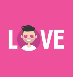 Valentines day love sign cute cartoon boy vector