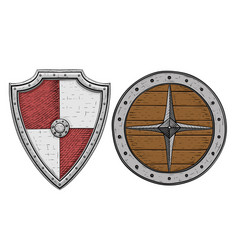 viking shields colored hand drawn sketch vector image