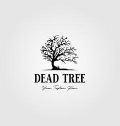 Vintage dead tree logo alone bird silhouette vector