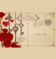 vintage postcard the theme of declaration of love vector image