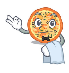 waiter seafood pizza in mascot shape vector image