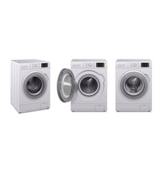 Washing machine realistic icon set vector