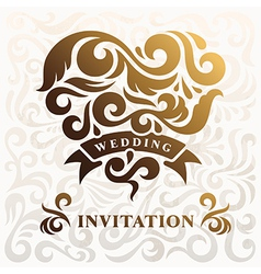 Wedding Invitation with Heart vector image