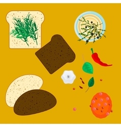 wheat and rye slices bread with spice herbs vector image