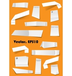 White paper notes and scraps attached with pins vector image