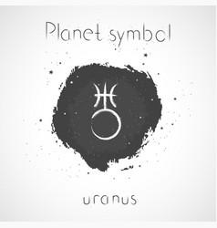 With hand drawn astrological planet symbol uranus vector